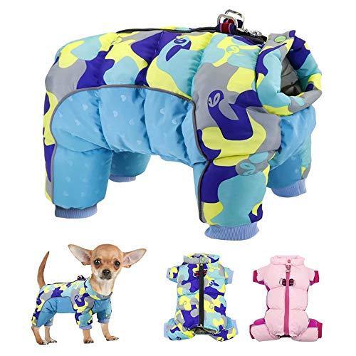 Didog Winter Puppy Hond Jassen, Step-in Warm Waterdichte Jas voor Kleine Honden, Reflecterende Winddicht Koud Weer Kleding 4 Benen Full Body