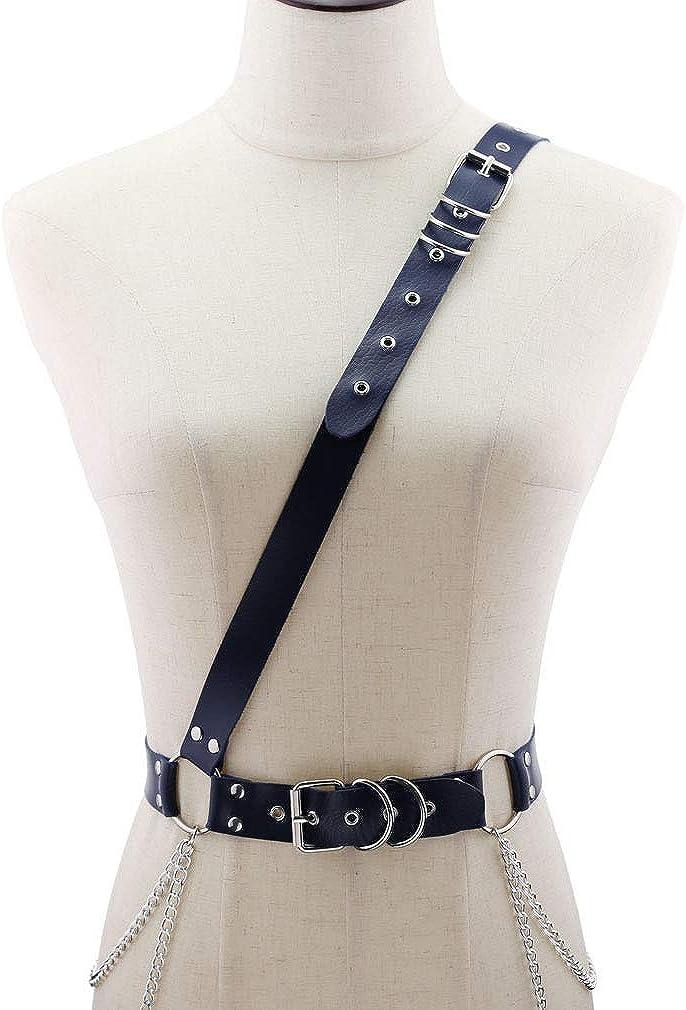 sd finger Korea Idol Faux Leather Adjustable Shoulder Straps Harness Punk Body Chest Caged Waist Belts