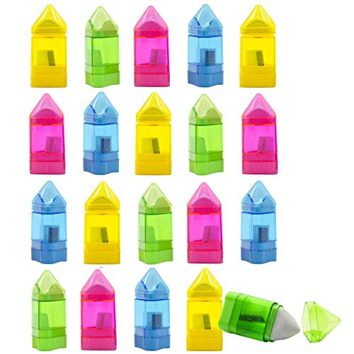 24 PCS Manual Pencil Sharpener with Eraser -Single Hole Triangular Shape Handheld Crayon Sharpener with Receptacle and Eraser for School, Office and Home Supplies