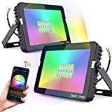 Smart LED Flood Lights Bluetooth APP Control Color Changing RGB White Green Back Light 20W Flood Light Replace 150-200W Outdoor Garden Patio Backyard Stage Background Lighting IP66 2Pack NO Plug
