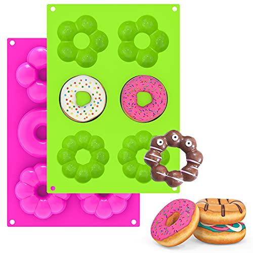 2 Piezas Moldes de Silicona para Hacer Donuts - Molde de Rosquilla Molde Donuts 6 cavidades Antiadherentes para Rosquillas,Magdalenas,Bagels,Galletas,Pasteles,Rosa y Verde