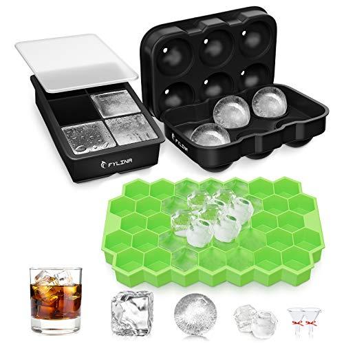 FYLINA Eiswürfelform Eiskugelform Ice Cube Eiswürfelschalen Eiswürfel mit Deckel Leicht Entformbare & BPA-freie Würfel Eiswürfel Form für Whisky, Cocktails, Saft, Schokolade, Süßigkeiten 6+6+37 Fach