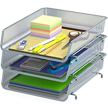 3 Pack - Stackable Desk File Document Letter Tray Organizer Silver