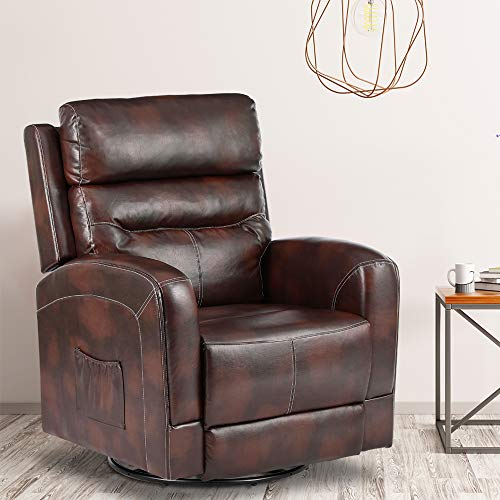 New Massage Recliner Chair Heating PU Leather Ergonomic Lounge Chair for Living Room Home Theater Seating Heated Overstuffed Single Sofa with Side Pockets, 360 Degree Swivel (PU Leather-Brown)