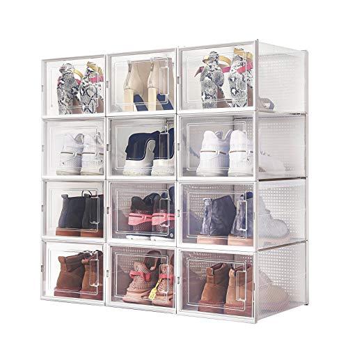 Meerveil Lot de 12 Boîtes à Chaussures Empilable, Rangement Boite Chaussure en Plastique avec Porte, 36 * 28 * 21cm, Facile à Assembler DIY, pour Pointure Jusqu'à 46 EU/11UK, Transparent et Blanc