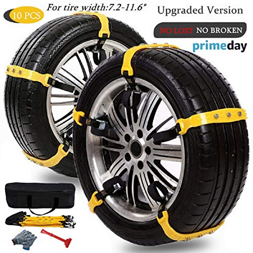 Anti Slip Snow Chains for SUV Car Adjustable Universal Emergency Thickening Anti Skid Tire Chain,Winter Driving Security Chains,Traction Mud Snow Chains for Car/Truck Tire Width 7.2-11.6',10 Pcs