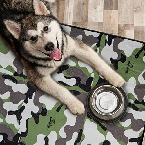 PUPWHIZ Washable Pee Pads for Dogs   Reusable Urine Incontinence XL Mats 30x36   2 Pack for Potty Training and Whelping in Playpen & Kennel Crate   Ideal for Bowls Placemat & Pet Feeding (Camo)
