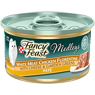 Purina Fancy Feast Pate Wet Cat Food, Medleys White Meat Chicken Florentine With Cheese & Garden Greens - (24) 3 oz. Cans
