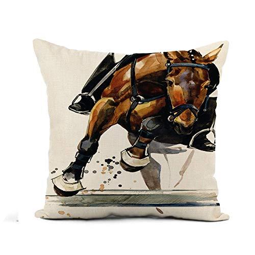 GOSMAO Funda de Almohada Caballo Ecuestre Semental Acuarela Concurso Animal Activo Doma Equina Algodón Lino Throw Pillow Case Funda de Almohada para Cojín 45x45 cm