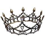 TYWZJ Women Baroque Alloy Crown Charming Rhinestone Headband Retro Design Queen Tiara Hair Loop Hair Pin for Wedding Bridal Party Birthday