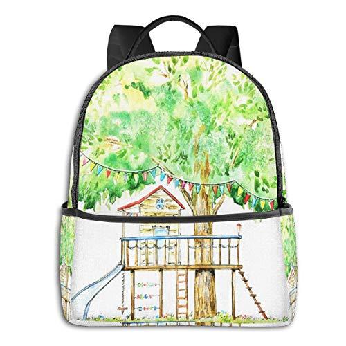 PEIGJH Mochilas Escolares Bolsa Daypack Mochila Tipo Casual para Niños y Niñas para Portátiles y Netbooks Tobogán Columpio Playg Tree House