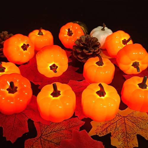 24 Pack 3D Pumpkin Flame Less Candles LED Tea Lights Pumpkin...