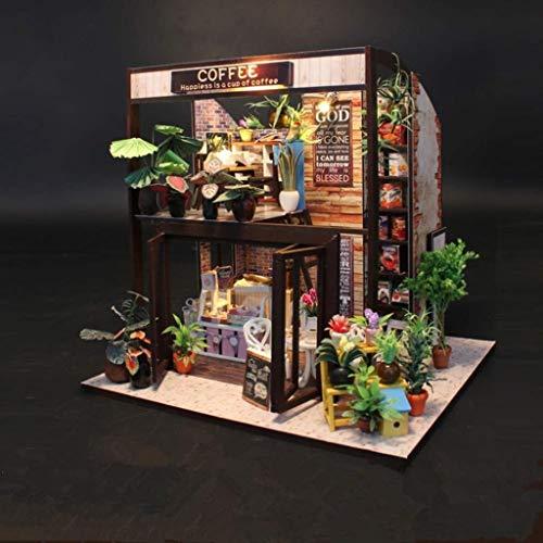 JJJJD-escultura DIY Dollhouse Coffee House Modelo Mini Muebles Simulación con Luces Led y Polvo Cubierta Etc Presente del día de San Valentín, Cafe