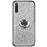 Hpory Custoida Samsung Galaxy Note 10 Pro, Cover Samsung Note 10 Pro Glitter Strass Ring-Case Rigida 360 Gradi Case Rotazione Kickstand Morbido Gel Silicone TPU Cover Placcatura Caso, Argento