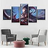 JIONGJIONG Cuadros Modernos 5 Piezas Enmarcado Impresión de Imagen Artística Digitalizada Lienzo AbstractoLienzo Decorativo para Tu Salón o Dormitorio Lienzo de Juego Impreso 150x80cm