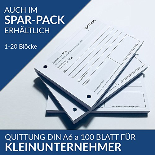 5 x Quittungsblock für Kleinunternehmer DIN A6 je 100 Blatt, Quittung § 19, gelocht (5)