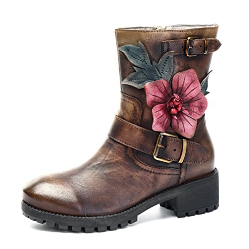 Socofy Damen Kurzschaft Stiefel, Leather Ankle Boots Damen Kurzschaft Stiefel Klassische Kurz Stiefel Handmade Lederstiefel Zipper Chukka Boots Coffee 38