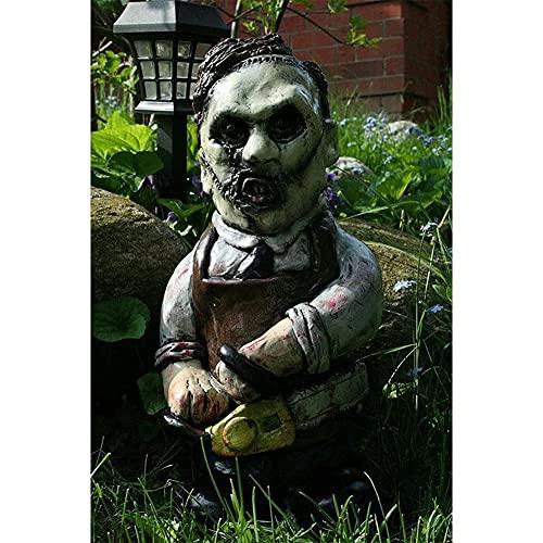 XYWY Horror Movie Garden Gnomes, Nightmare Horror GNOME,Killer Garden GNOME,Spooky Undead Halloween Sculpture Combat GNOME for Outdoor Garden Patio, Yard or Lawn (I)
