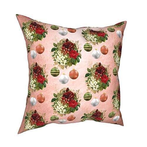 Fundas de almohada, color oro rosa, rojo y blanco, diseño de flores navideñas para el hogar, fundas de cojín cuadradas para sofá, sala de estar, cama 45,7 x 45,7 cm