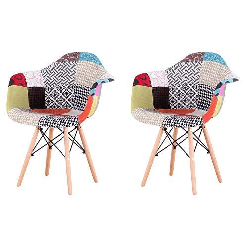 N / A Pack de 2 sillas,sillas de Comedor Patchwork Tela de Lino Butaca, Silla de salón, sillas de recepción, Silla de Cocina (Rojo)