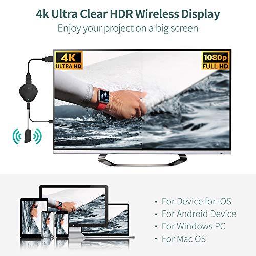 MPIO 5G Wireless HDMI Display Dongle Adapter, 4K WiFi Streaming Video Receiver Kompatibel mit iPhone/iPad/IOS/Android/Windows/Mac/PC zu HDTV/Monitor/Projektor, Unterstützung Miracast Airplay DLNA
