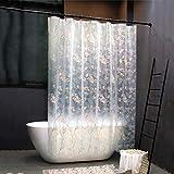 Duschvorhang Bedruckt, Halbtransparent Wasserdicht Anti-Schimmel Eva Waschbar Duschvorhänge mit Haken für Badezimmer Badewanne-180X220cm(71X87in)