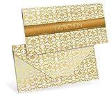 Gutscheinkarten (10 Stück) für Ihre Kunden - Geschenkgutscheine für Einzelhandel, Dekorationsartikel, Bastelbedarf - DIN lang Faltkarte verschließbar