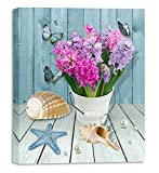 Bathroom Wall Art Beach Canvas Wall Decor for Bathroom Starfish Conch Shell Picture Artwork Framed Wall Art Ready to Hang for Kid Room Bedroom Size 12x16 inch