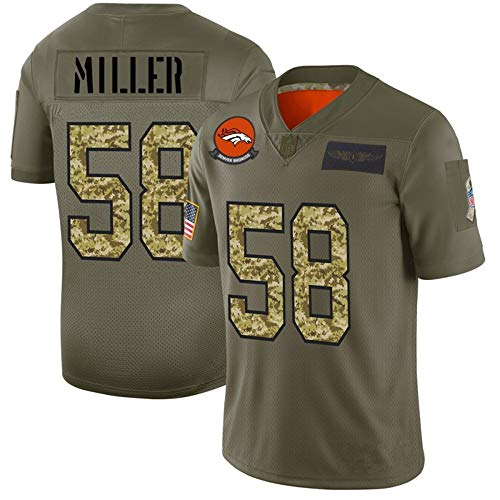 Von Miller #58 American Football Denver Broncos Trikots,T-Shirts Tops Shirts Trainingshemden Atmungsaktives Mesh-Schweiß Bequemes Sweatshirt-ArmyGreen-L