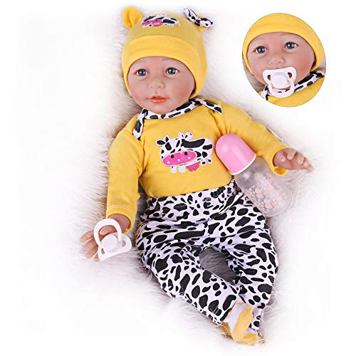 Lifelike Reborn Baby Dolls 22 Inch Weighted Baby Reborn Dolls, Soft Vinyl Realistic Real Baby Dolls Toy Gift for Age 3+