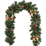 Ghirlanda di Natale in PVC da esterno / interno, con bacche e pigne