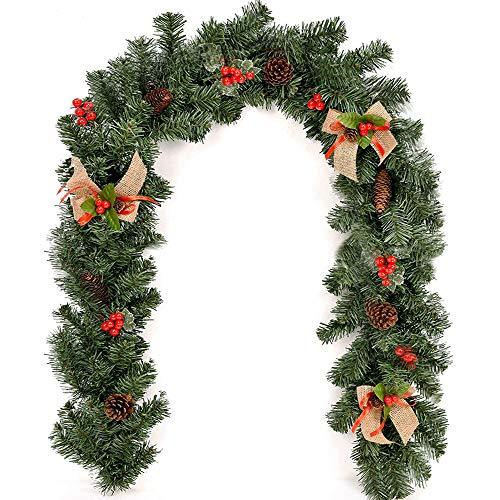 Lovestory_Eu 1.8M/2.7M Ghirlanda Di Natale In Rattan,Decorazioni Natalizie Con Bacche E Pigne,Adatta Per Decorazioni Per Feste (Nodo Natalizio 1,8M)