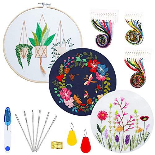Kit de Inicio de Bordado,Juego de 3 juegos de bordado con patrón e instrucciones,incluye 3 ropa de bordado con patrón floral,1 aro de bordado de bambú,hilos de colores y herramientas