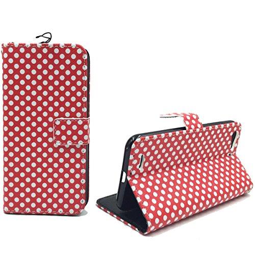 König Design Handyhülle Kompatibel mit ZTE Blade V6 Handytasche Schutzhülle Tasche Flip Hülle mit Kreditkartenfächern - Polka Dot Weiße Punkte Rot