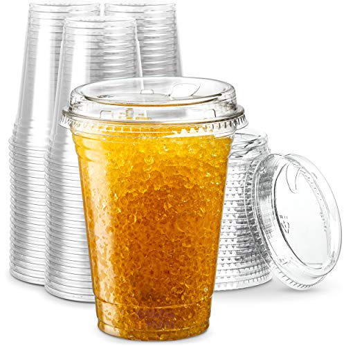 16 oz. Clear Cups with Strawless Sip-Lids, [50 Sets] PET Crystal Clear Disposable 16oz Plastic Cups...