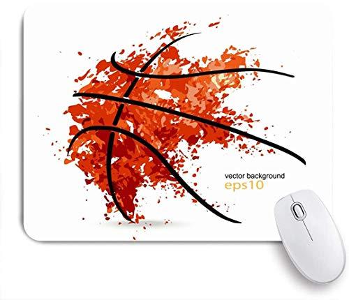 Benutzerdefiniertes Büro Mauspad,Orange Basket Abstract Basketballball Sport Freizeit Spieler Grafik Line Badge Hoop Turnier,Anti-slip Rubber Base Gaming Mouse Pad Mat