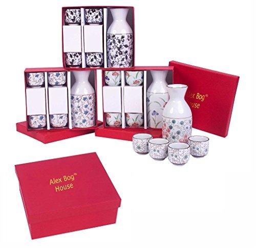 Teeservice Asiatische, Motive Japanisch, Kirschblüten, rot und weiß Maße: 20cm X 5cm x 10cm