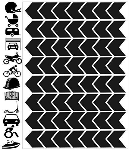 Biomar Labs 56pcs Negro Kit de Pegatina Cinta de Advertencia Flecha de Seguridad Reflectiva Reflectante Vinilo Adhesivo Coches Cascos Motos Ciclomotores Bicicletas Ordenador Portátil D 50