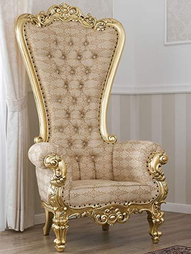 SIMONE GUARRACINO LUXURY DESIGN Poltrona Regina Stile Barocco Francese Trono Foglia Oro Tessuto Damascato Avorio e Oro Bottoni Crystal SW