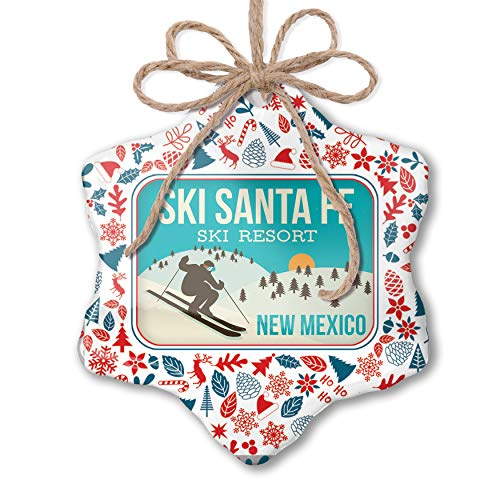 NEONBLOND Christmas Ornament Ski Santa Fe Ski Resort - New Mexico Ski Resort Red White Blue Xmas