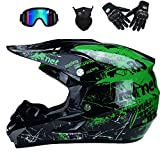 AKBOY Casco da Motocross Adulti Verde, Casco da Moto Cross Caschi Integrale da Corsa, Motocicletta ATV MX BMX Downhill Cross-Country Quadrilatero con Caschi Occhiali di Protezione/Face Mask/Guanti,XL