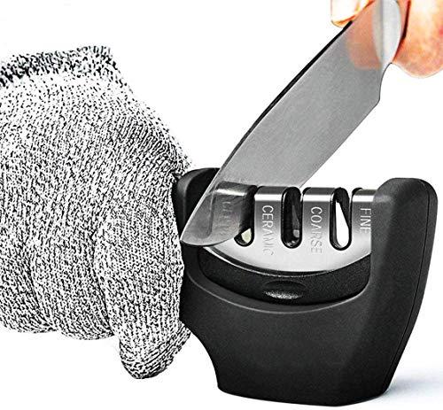 Limirror Messerschärfer, Messerschleifer Knife Sharpener Messerschaerfer mit 3 Stufen+ schnittschutz Handschuhe (Vintage-Schwarz)