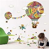 Fymm丶shop Adesivo Murale Colorato Mongolfiera Animali Nursery Room Orso Giraffa Camera dei Bambini Aula del Fumetto Adesivi Murali Poster 30X90Cm