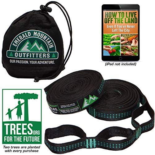Emerald Mountain Hammock Straps - XL Hammock Tree Straps - No Stretch Polyester, 42 Loops, Triple Stitched, 10 Foot Length – Suspension Straps for All Hammock Brands