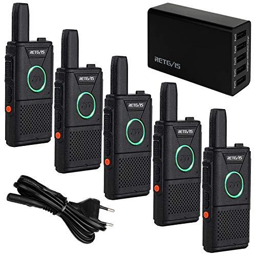 Retevis RT618 Walkie Talkie Dual PTT, Ultradelgada PMR446 Radio de 2 Vías, Walkie Talkies con Cargador USB de 5 Puertos, Walkie Talkies Portátil para Camareros en Restaurantes,Hoteles(Negro, 5Piezas)