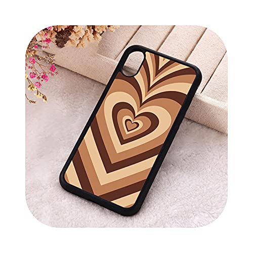 P.X.M.E. 5 5S SE 2020 - Carcasa para iPhone 6, 6S, 7, 8 Plus, X Xs XR 11 y 12 Mini Pro Max de goma, diseño de corazón en color marrón