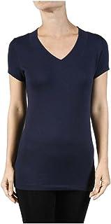 Hollywood Star Fashion Women's Deep V-Neck Short-Sleeve Shirt