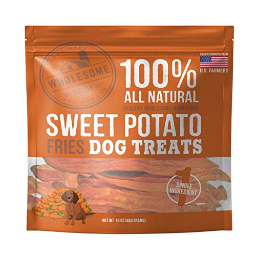 Wholesome Pride Sweet Potato Fries Dog Treats, 16 oz - All Natural Healthy - Vegan, Gluten and Grain-Free Dog Snacks - Made in USA