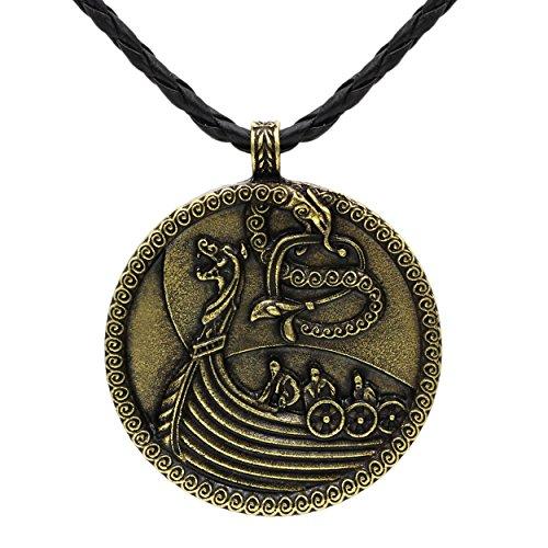 Collar con colgante de lobo vikingo medieval barco nórdico odín lobo de bronce antiguo con nudo escandinavo, cuervo mjolnir, señoras hombres nórdicos celta nórdica, talismán sajón