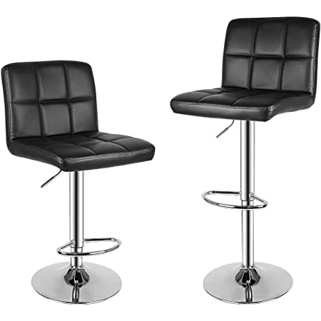 Songmics Bar Stools Set Of 2 Height Adjustable Bar Chairs In Synthetic Leather 360 Swivel Kitchen Stool With Backrest And Footrest Chrome Plated Steel Black Ljb64buk Amazon Co Uk Kitchen Home